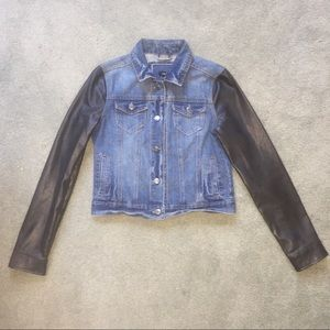 denim jacket with leather sleeves